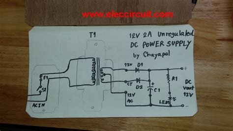 Simple 12V 2A DC power supply - ElecCircuit