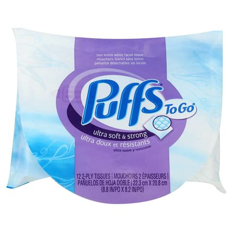 Puffs To Go Facial Tissues, Nonlotion White, 2 Ply, 1 pack