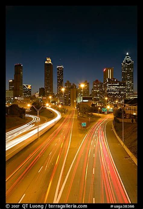 Picture/Photo: Highway and Atlanta skyline at night