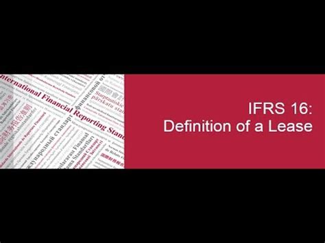 IFRS 16: Definition of a lease - YouTube