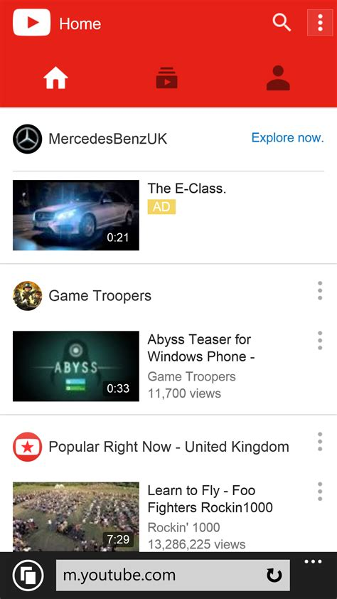 YouTube's updated mobile site works very well on Windows