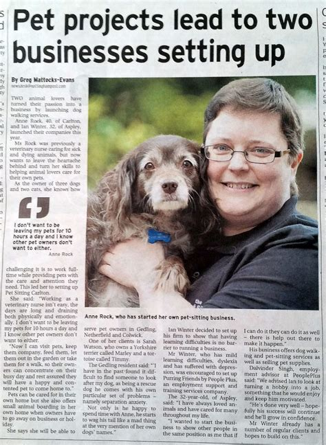Newspaper Articles - The Pet Sitting Company